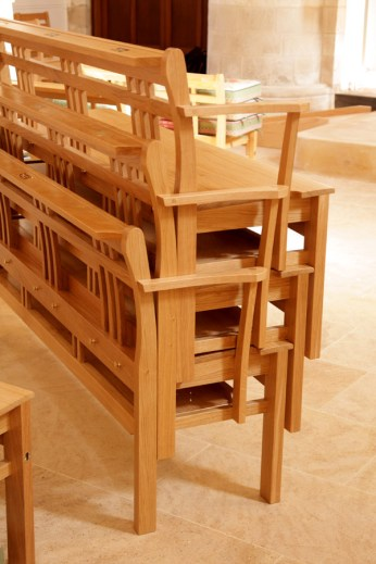 St Thomas of Canterbury, Goring - pews stacked (© Bates and Lambourne)
